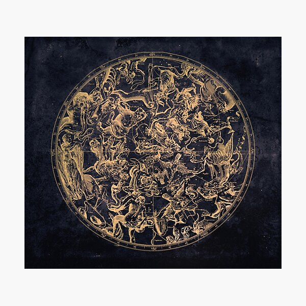 Vintage Constellations and Astrological Signs | Yellowed Ink and Cosmic Colour Photographic Print
