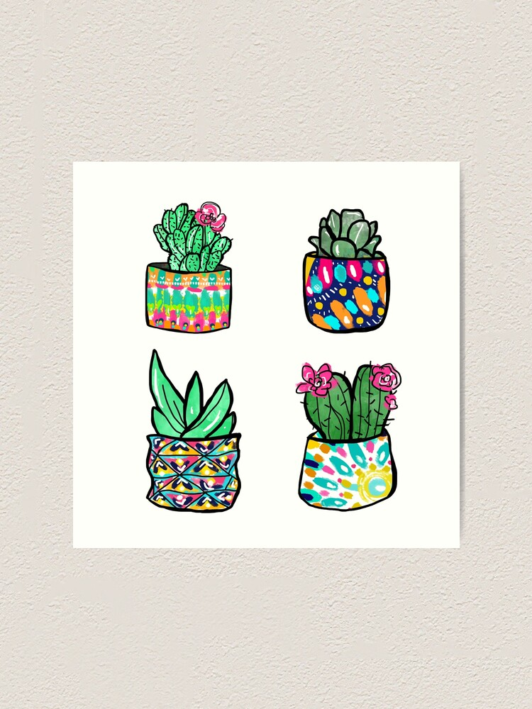Alternate view of Colorful Cactus and Succulent Illustration Art Print