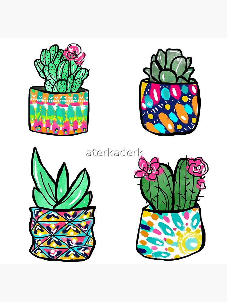Colorful Cactus and Succulent Illustration by aterkaderk