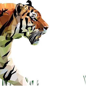 Tiger Prowling | Low poly vector by Whyking