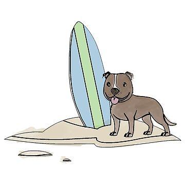 Surfing staffy by ErinJain