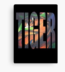 Large Tiger Text With Tiger Camouflaged Canvas Print