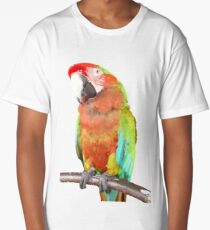 Vector Style Harlequin Macaw On A Perch Long T-Shirt