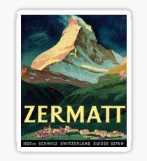 Zermatt, mountain peek, Switzerland, vintage travel poster Sticker