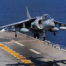 Ein AV-8B Harrierjet landet auf dem Flugdeck der USS Essex. von StocktrekImages