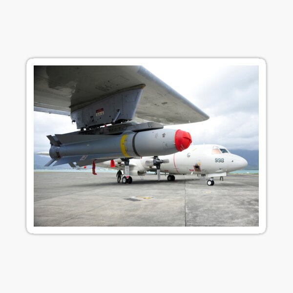 An AGM-65 Maverick tactical missile is mounted on a P-3C Orion. Sticker