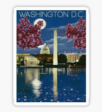Washington DC, White house, lake, vintage travel poster Sticker