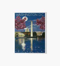 Lámina rígida Washington DC, casa blanca, lago, cartel de viaje vintage