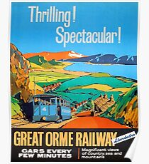 Great Orme tramway, railway, Great Britain, sightseeing, vintage travel poster Poster