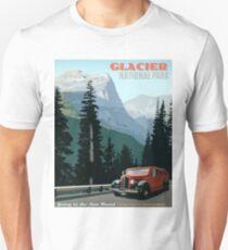Glacier, National Park, old car, tour, vintage travel poster Unisex T-Shirt