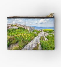 dandelions among the boulders on hill side Studio Pouch