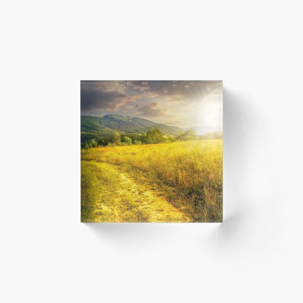 road through a rural meadow on the hillside  at sunset Acrylic Block