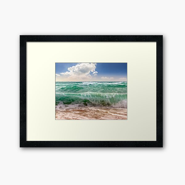 huge sea ​​waves running on sandy beach Framed Art Print
