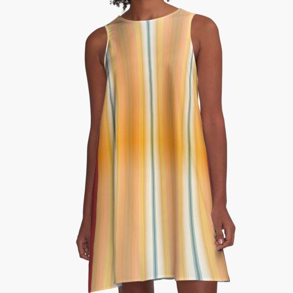 Gestreifte Leinwand rund A-Linien Kleid