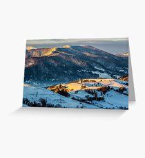 sunrise in winter carpathians Greeting Card