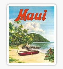 Maui, Hawaii, tropic beach, send, fishing boat, vintage travel poster Sticker