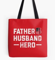 Men's Police Husband Daddy Hero Badge Flag Fathers Day Gift Shirt For Dad, Tote Bag