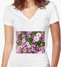 flowers Women's Fitted V-Neck T-Shirt