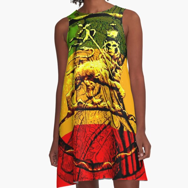 Rasta Lion of Judah A-Line Dress