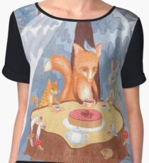 woodland animal round the picnic table Women's Chiffon Top
