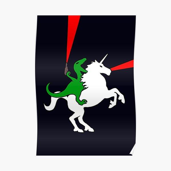 Dinosaur Riding Unicorn Poster