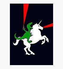 Dinosaur Riding Unicorn Photographic Print