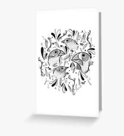 Fine Finches (linework) Greeting Card