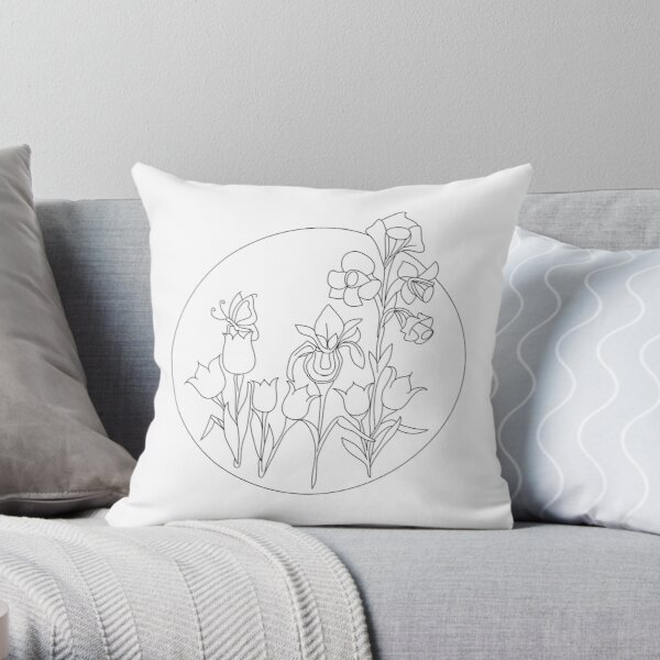 Black and White Flower and Butterfly Design Throw Pillow