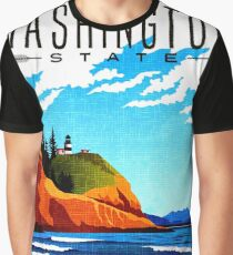 Washington, USA, State, ocean, coast, lighthouse, vacation, travel poster Graphic T-Shirt
