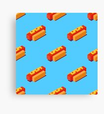 Isometric hot dogs pattern. Canvas Print