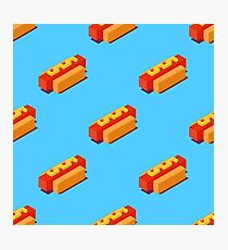 Isometric hot dogs pattern. Photographic Print