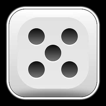 DICE, LUCKY NUMBER, Fifth, 5th, FIVE, DIE 5, Dice 5, on BLACK by TOMSREDBUBBLE
