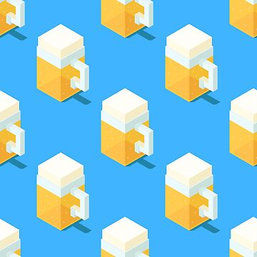 Isometric beer mugs pattern. by Zhitkov