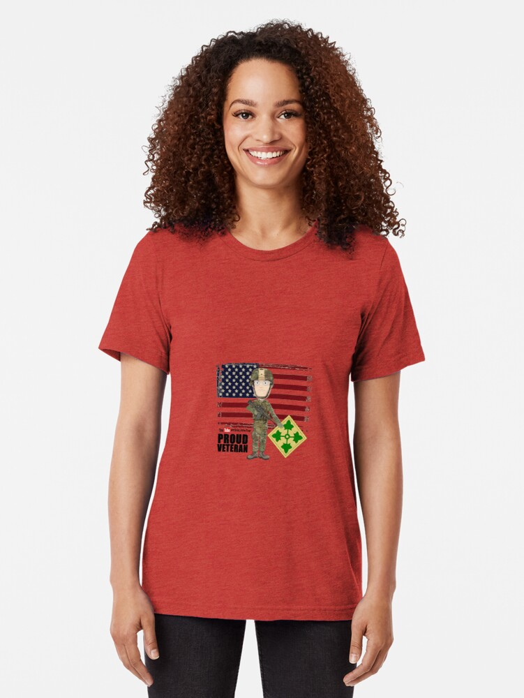 Alternate view of 4th Infantry Division - Proud Veteran of OIF / OEF Tri-blend T-Shirt