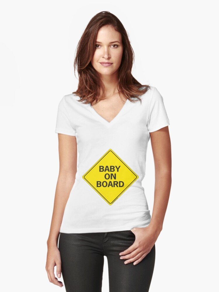 Baby on Board Women's Fitted V-Neck T-Shirt Front