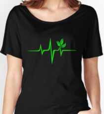 Pulse green go vegan save earth wave heartbeat  Women's Relaxed Fit T-Shirt