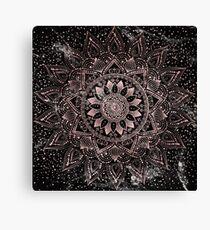 Elegante Rosengoldmandalapunkte und Marmorgrafik Leinwanddruck