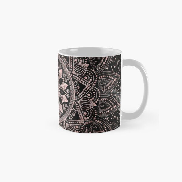 Elegant rose gold mandala dots and marble artwork Classic Mug
