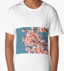 Pink Flowers Blooming Peach Tree at Spring Long T-Shirt