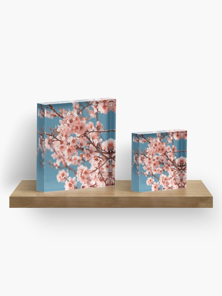 Alternate view of Pink Flowers Blooming Peach Tree at Spring Acrylic Block