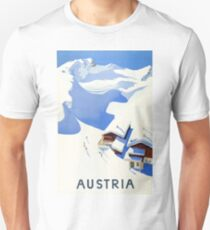 Austria, winter, ski, holiday, season, vintage, travel, poster T-Shirt