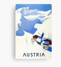 Austria, winter, ski, holiday, season, vintage, travel, poster Canvas Print