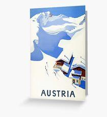 Austria, winter, ski, holiday, season, vintage, travel, poster Greeting Card