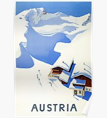 Austria, winter, ski, holiday, season, vintage, travel, poster Poster