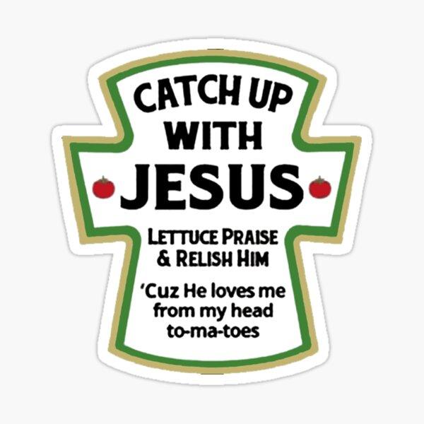 Póngase al día con JESÚS - Camisetas de Jesús - Amo la camiseta de Jesús Pegatina