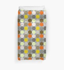 Mid-Century Giant Dots, Gray, Gold and Orange  Duvet Cover