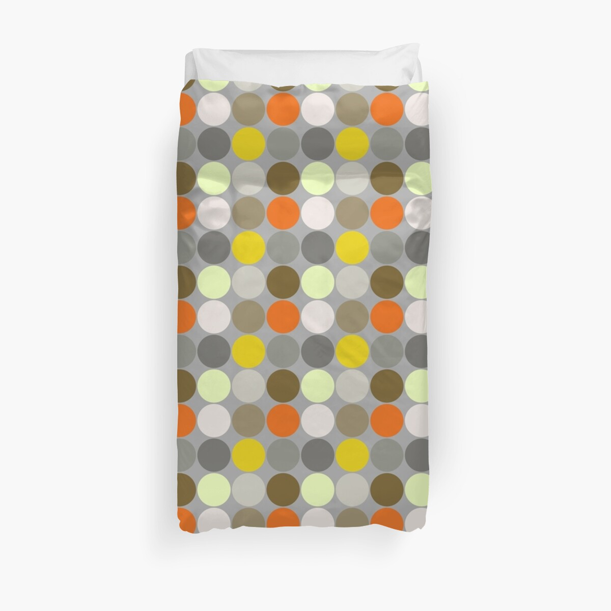 Mid-Century Giant Dots, Gray, Gold and Orange  by Marymarice