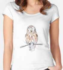 Cute watercolor owl Women's Fitted Scoop T-Shirt