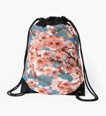 Pink Flowers Blooming Peach Tree at Spring Drawstring Bag