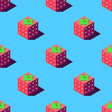 Isometric strawberries pattern. by Zhitkov